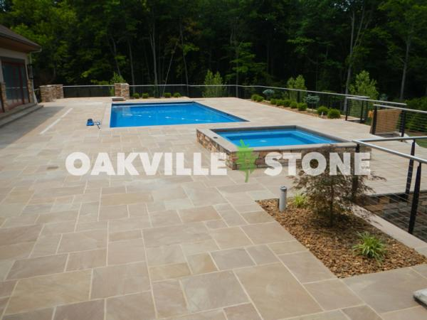 autumn brown pool coping - oakville stone - rock hard landscape supply