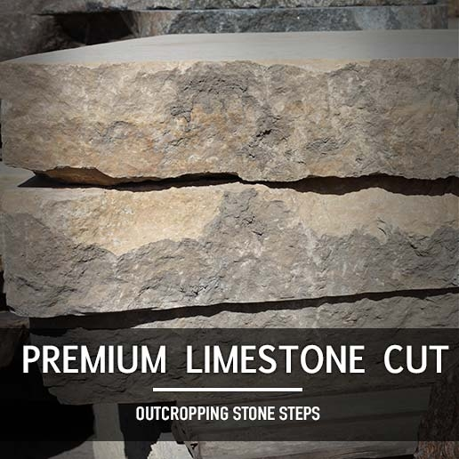 Premium Limestone Cut Outcropping Steps